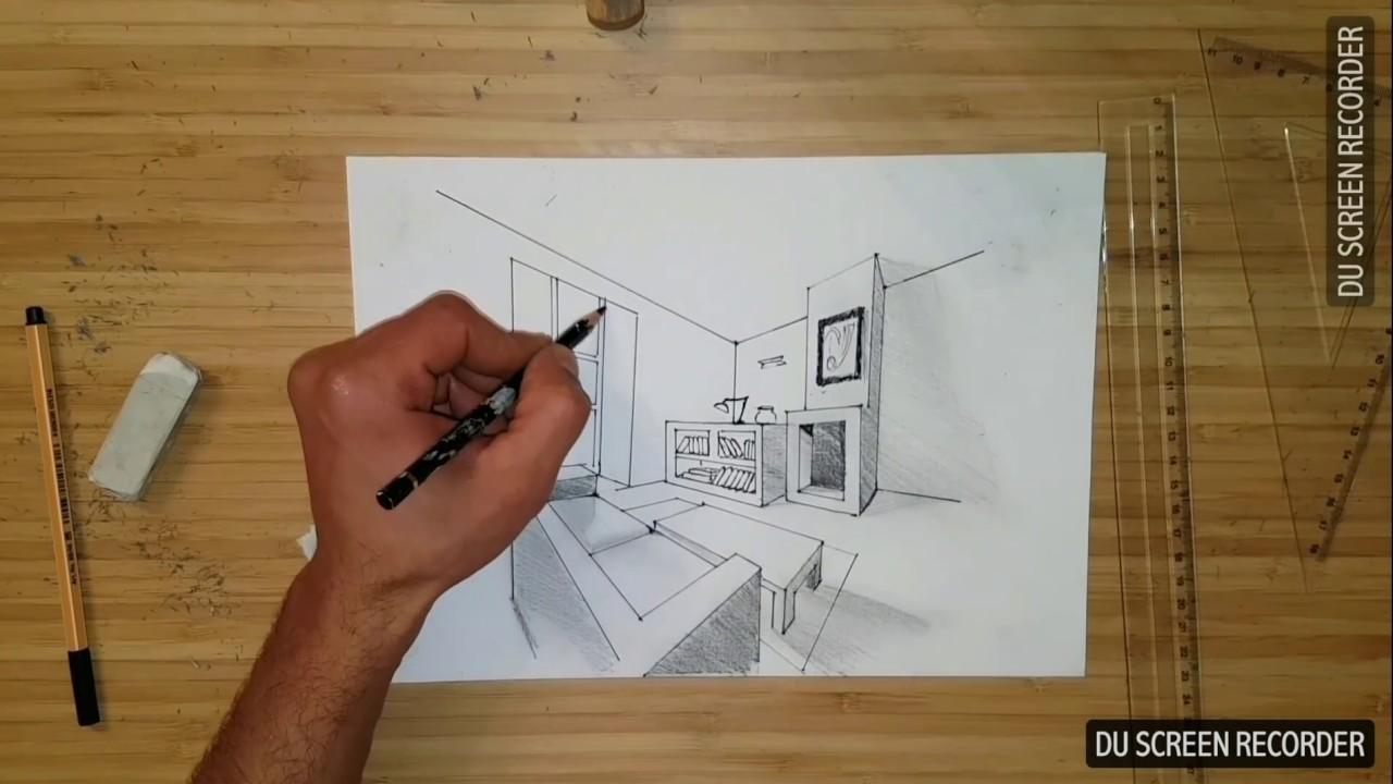 Apprendre à dessiner.. Dessin intérieur, la perspective avec deux ...