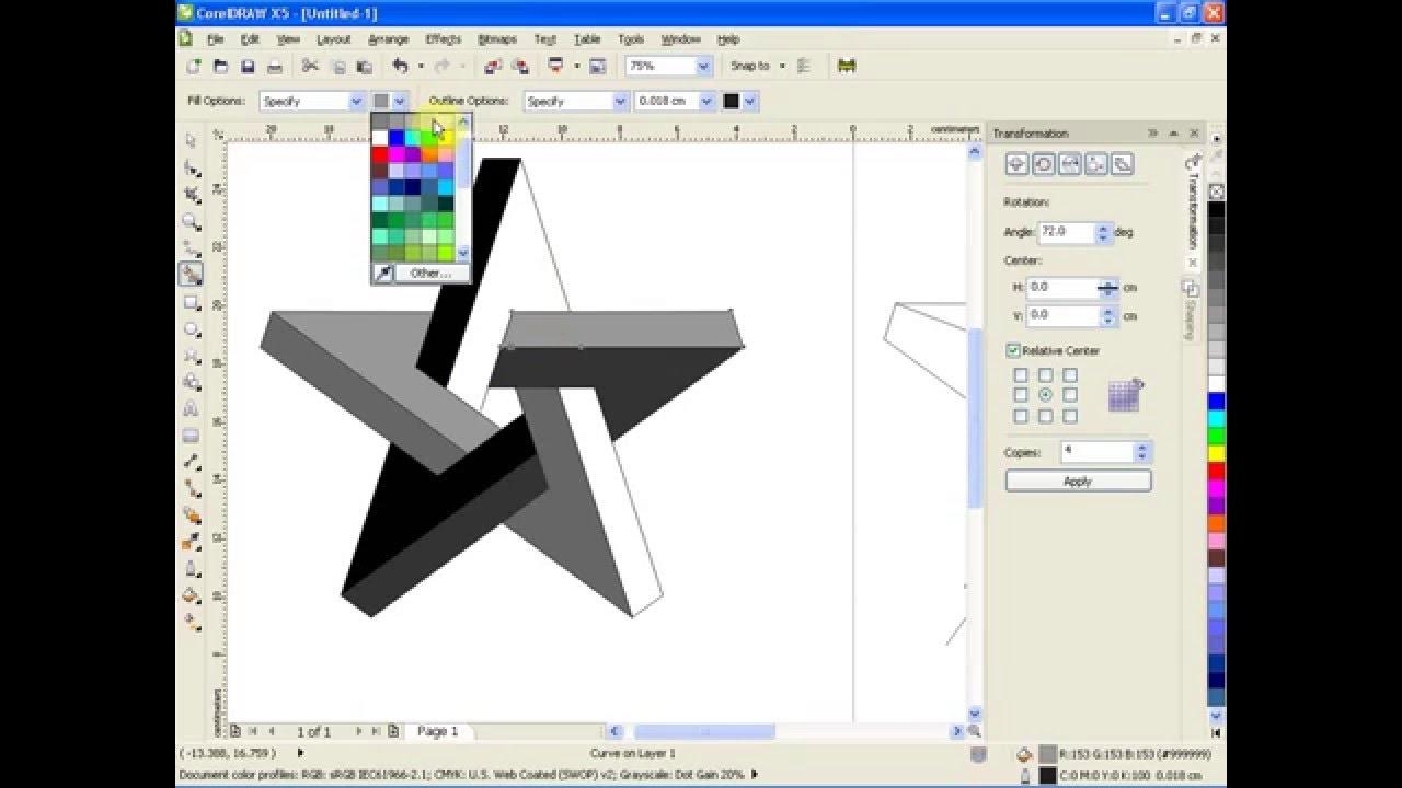 Thủ thuật vẽ ngôi sao 3d ảo bằng corel x5