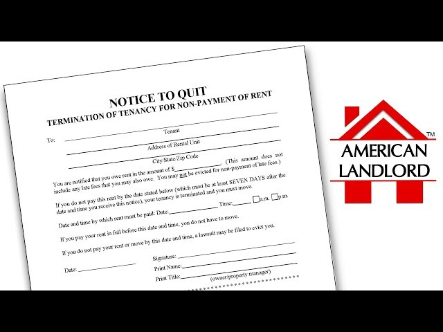 What is a Notice to Quit in an Eviction? | American Landlord
