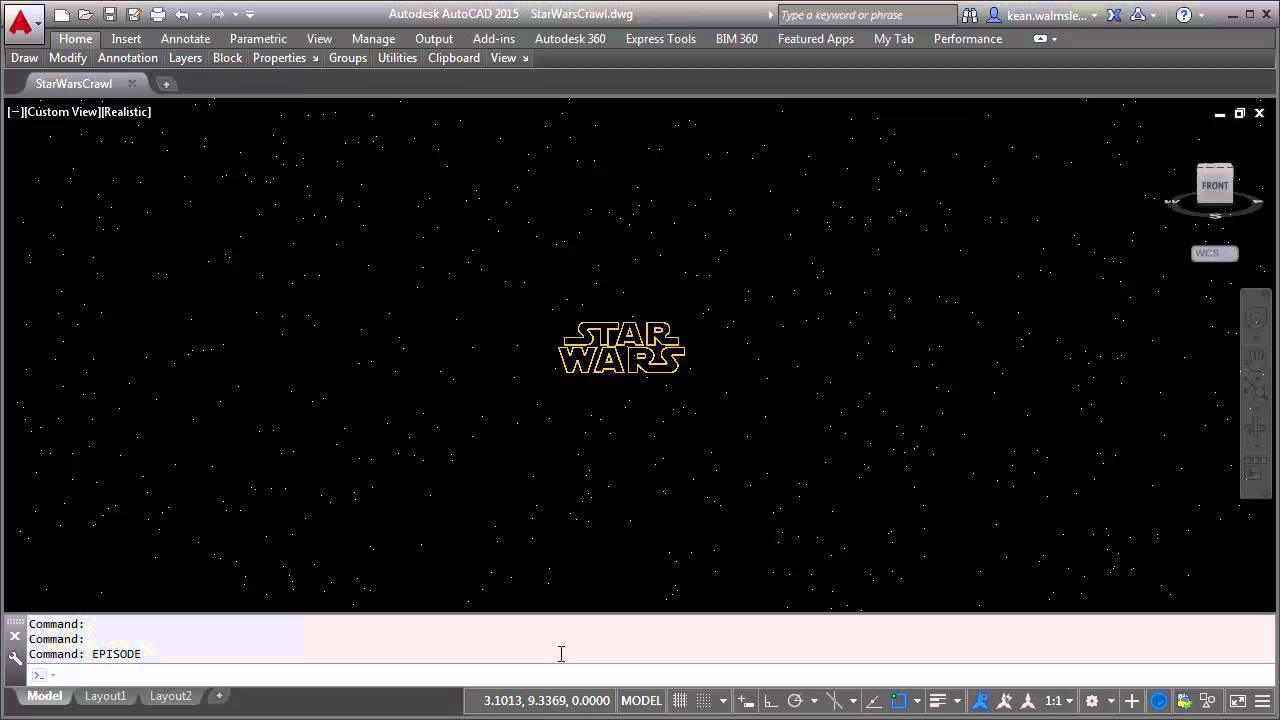 Recreating the Star Wars opening crawl in AutoCAD using F#