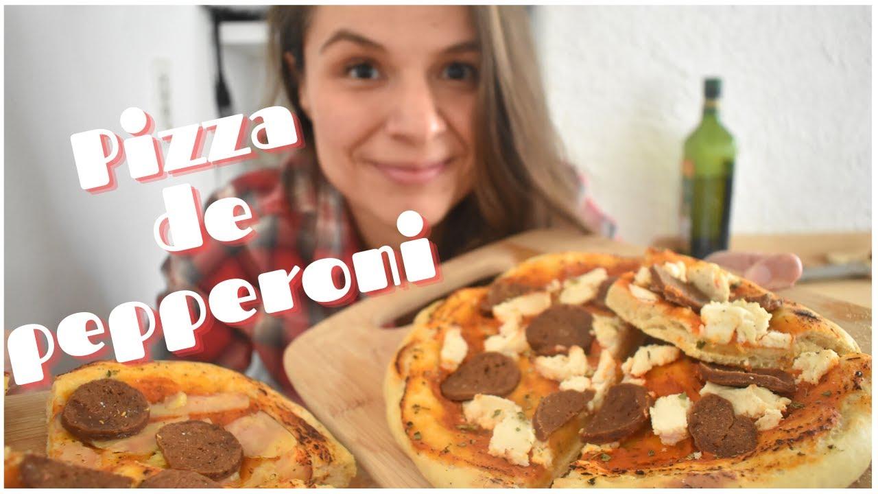 PIZZA DE PEPPERONI DESDE CERO | vegano sabrosón