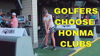 GOLFERS TRY OUT HONMA GOLF CLUBS