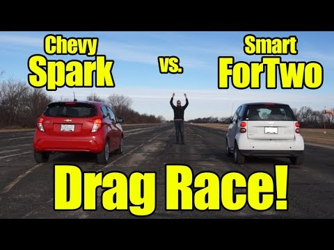 Chevrolet Spark Vs Smart Car Drag Race! The Slowest Race In History? Watch To Find Out!
