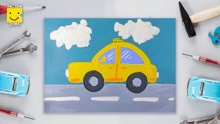 Как нарисовать машину - урок рисования для детей 4-6 лет. Дети рисуют автомобиль поэтапно