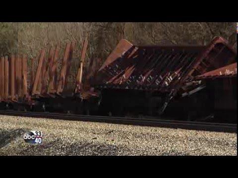 Train derailment in Vance, Alabama (raw scene video)