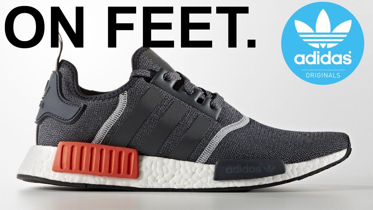 dd3a392df0b57 Adidas nmd R1 grey   solar red on feet - YouTube