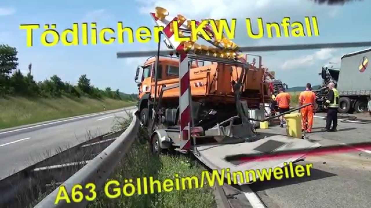 lkw unfall t dlich a63 g llheim winnweiler crash gegen autobahnmeisterei youtube. Black Bedroom Furniture Sets. Home Design Ideas