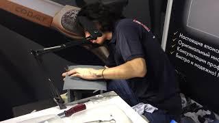 Заточка парикмахерских ножниц на выставке интершарм на стенде Гинко27 октября 2018 г.