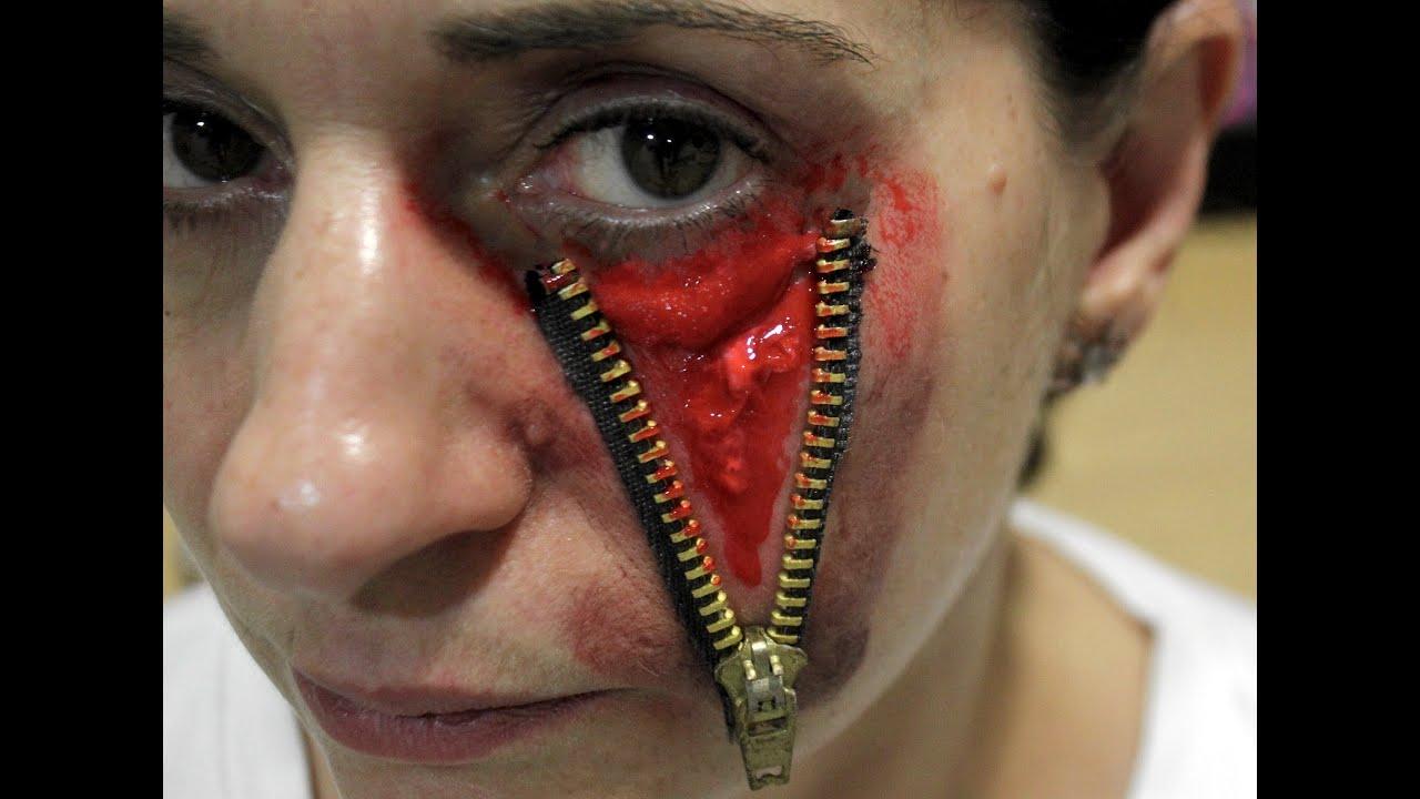 Maquillaje para disfraz de halloween ojo con cremallera - Pinturas para halloween ...