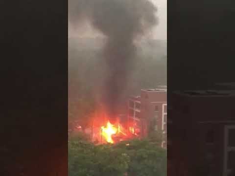 Video shows downed power line setting cars on fire in Ann Arbor