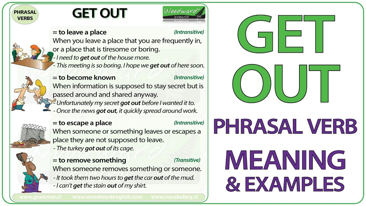 GET OUT - Phrasal Verb Meaning & Examples in English