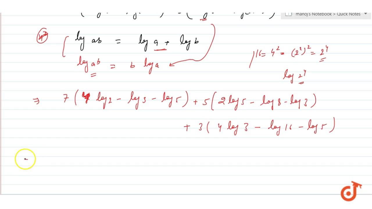 show that `7 log (16/15) + 5 log(25/24) + 3 log(81/80 ...