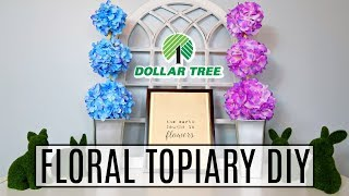 DIY DOLLAR TREE SPRING FLORAL TOPIARY | GORGEOUS & EASY