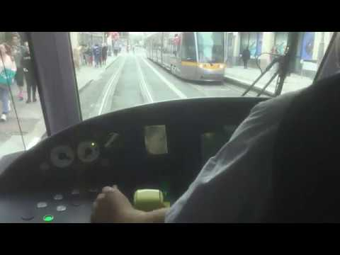 Tram Journey in Dublin, Ireland from Driver's View