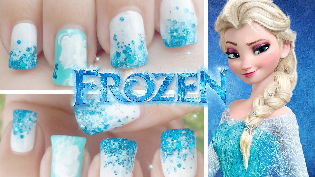 Frozen Inspired Minimalistic Nail Art  - YouTube