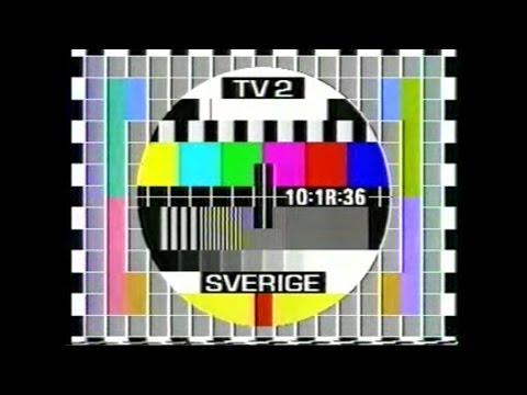 TV2 testbild med konstig klocka
