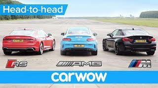 New Audi RS5 v BMW M4 v Mercedes-AMG C63S Drag and Rolling Race | Head2Head