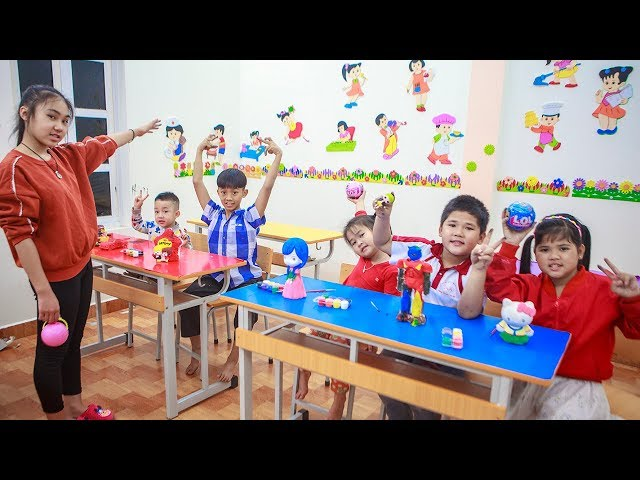 Kids Go To School | Chuns With Best Friends Learn To Draw Painted Objects