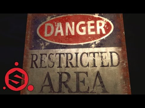 Substance Painter Rusted Metal Warning board & Text Feature