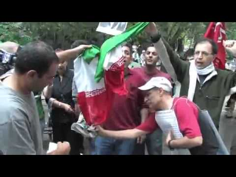 Burning flag of the Islamic Republic of Iran سوزاندن پرچم