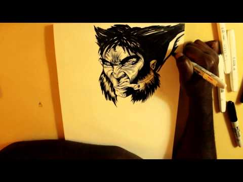 MATARI WOLVERINE INK SKETCH