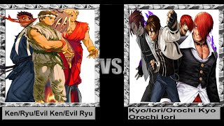 Mugen 1.1 4 on 4 - Ken/Ryu/Evil Ken/Evil Ryu vs. Kyo/Iori/Orochi Kyo/Orochi Iori