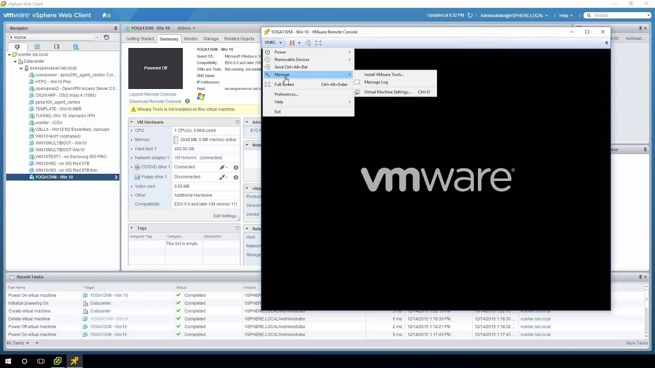 restore a uefi system's veeam endpoint backup to an esxi 6.0 windows