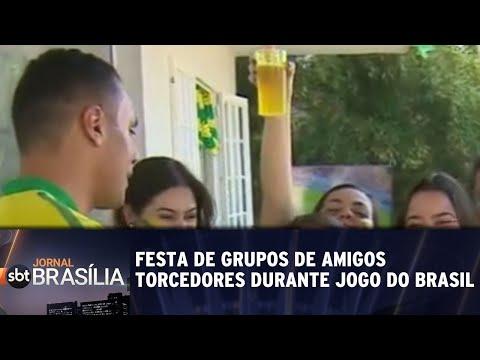 A festa de grupos de amigos torcedores durante jogo do Brasil   Jornal SBT Brasília 18/06/2018