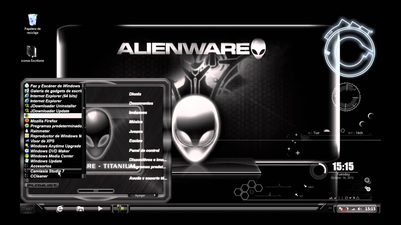 Alienware green theme for windows 7 + extras youtube.