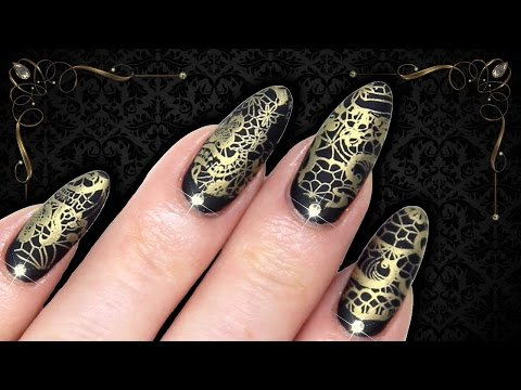 LUXE BAROQUE MATTE BLACK & GOLD LACE STAMPING NAIL ART (Dixie Plates Stamped Nails)