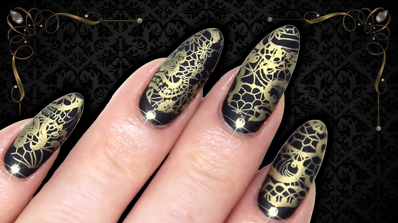 LUXE BAROQUE MATTE BLACK & GOLD LACE STAMPING NAIL ART (Dixie Plates ...