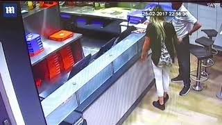 Video shows Domino's pair imitating  act with yellow cone