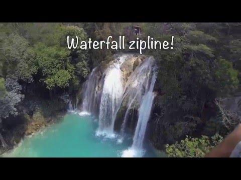 Crazy Ziplining over Blue Waterfalls at El Chiflon Cascadas in Chiapas Mexico