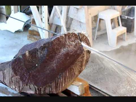 Cutting basalt, marble, granite with a DIY wire saw made of a vehicle hoist