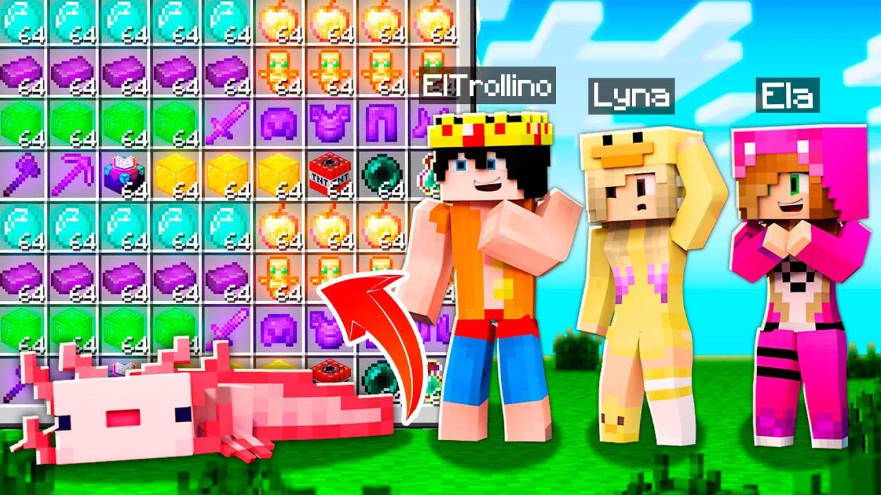 MINECRAFT pero los AJOLOTES dejan Loot OP 😱 Minecraft con Lyna, ElTrollino y Chocoblox