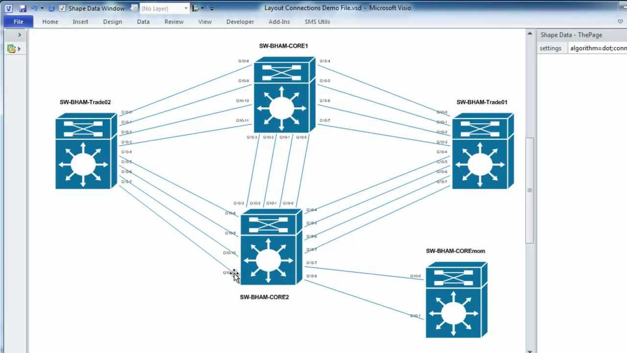 Automatically laying out Visio work topology diagrams and spacing and adjusting connectors