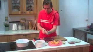 Говядина фаршированная персиками с гарниром из печеной тыквы
