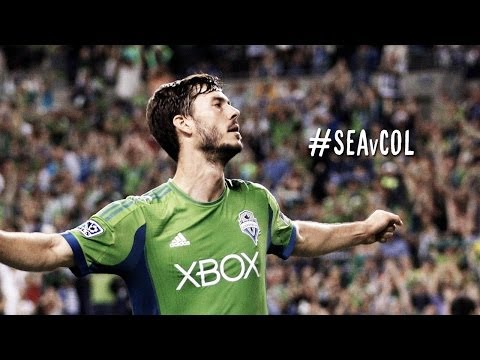 GOAL: Brad Evans drives it hard and low to put the Sounders into the lead