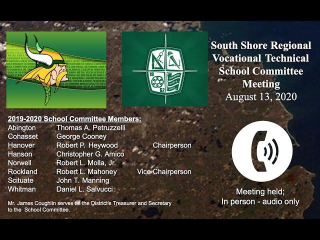 SSVT School Committee; August 13, 2020