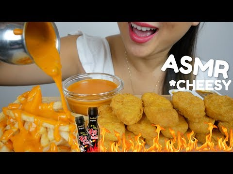 McDonald's Chicken Nuggets with NUCLEAR CHEESY SAUCE | ASMR *No Talking Eating Sound | N.E ASMR