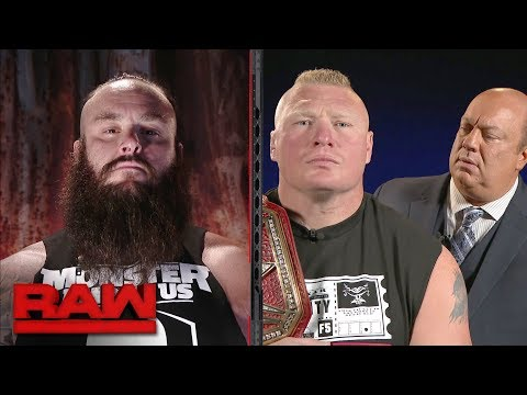 Michael Cole conducts a tense interview with Brock Lesnar and Braun Strowman: Raw, Sept. 18, 2017