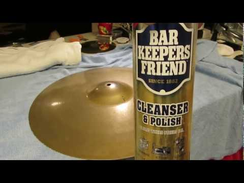 Bar Keepers Friend for cleaning brilliant cymbals