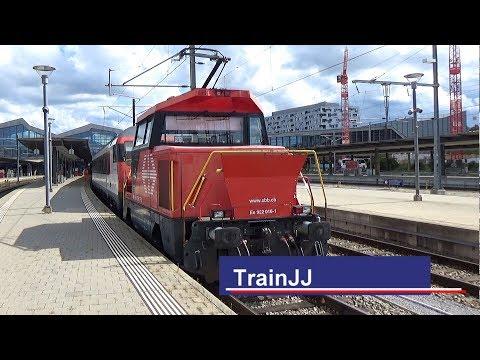 SBB Ee 922 016 Stadler Rangierlokomotive + InterRegio wagons | Bahnhof Basel SBB|Shunting locomotive
