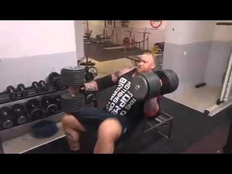 Hafþór Júlíus Björnsson  82kg182lb incline db press x 10