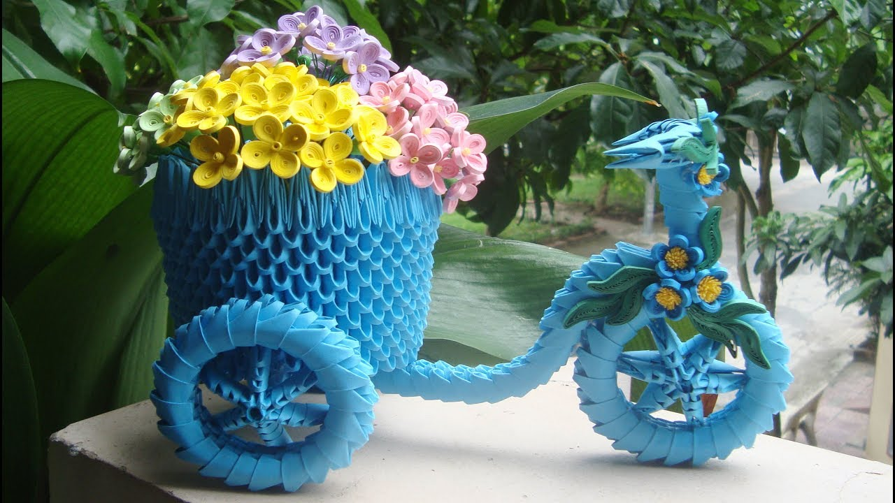 How To Make 3d Origami Tricycle Flower Basket Como Hacer Una Cesta
