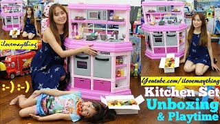 Pink Kitchen Playset Review. Food Cooking Pretend Play! Food Playset Toy Unboxing and Playtime