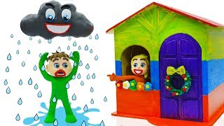 SUPERHERO BABY BUILDS PLAYHOUSE 💖Play Doh Cartoons For Kids