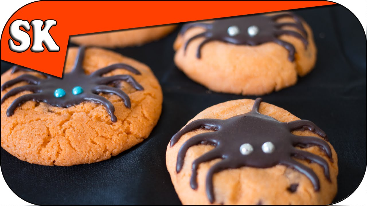 spider chocolate chip cookies - halloween cookies - youtube