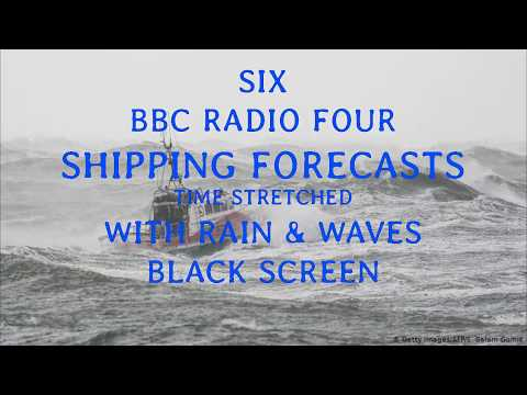 Shipping Forecasts with rain & waves (BLACK SCREEN)