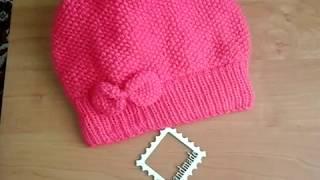 Вязание.Детская шапка спицами рисовой вязкой с  бантиком.Самая простая модель.Обзор.